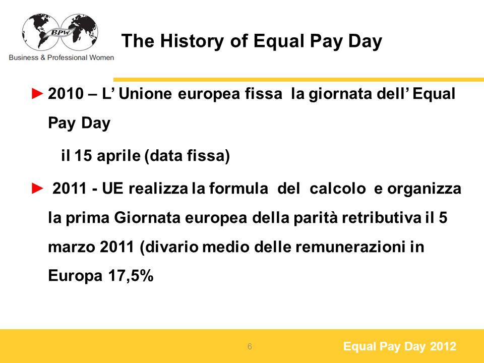 Equal Pay Day 2012 Equal Pay Day Webpages Una pagina Web è uno strumento importante per fornire informazioni dettagliate per il pubblico, i media e le nostre Socie sui seguenti argomenti: Persone da contattare Negoziati salariali Articoli e libri su parità retributiva Articoli di stampa e rassegna stampa Link dei vari Ministeri, modi di calcolo, stipendi ecc.