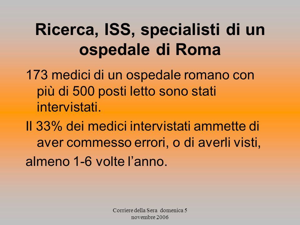 Corriere della Sera domenica 5 novembre 2006 Ricerca, ISS, specialisti di un ospedale di Roma 173 medici di un ospedale romano con più di 500 posti le