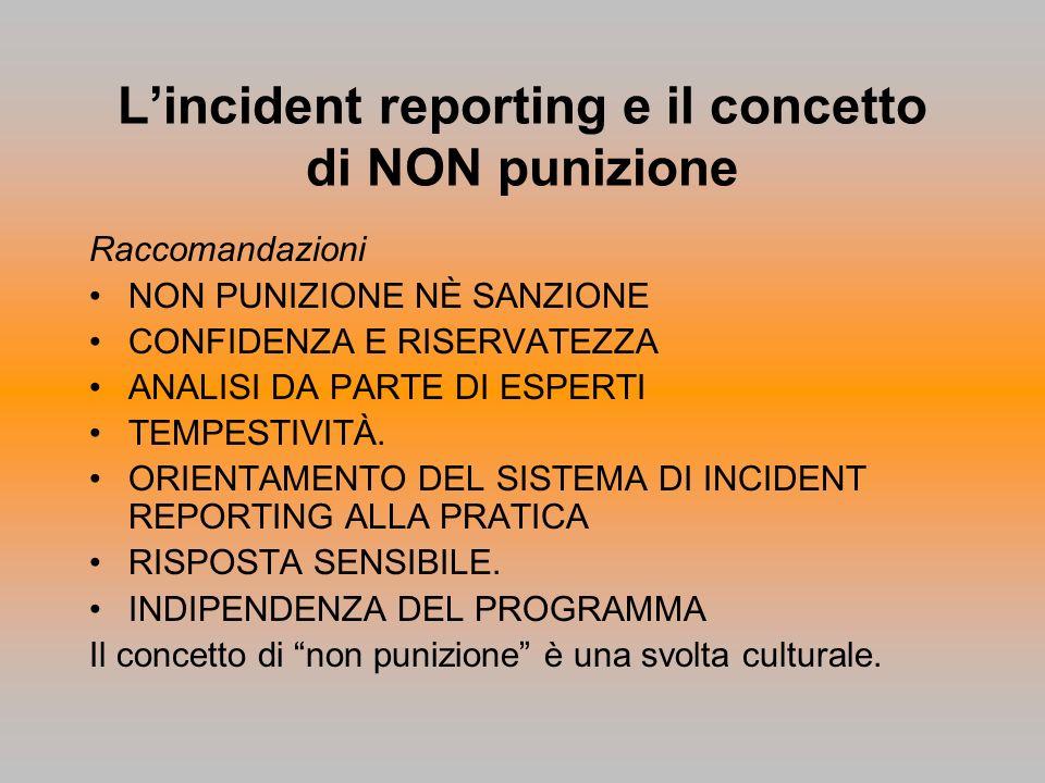 Lincident reporting e il concetto di NON punizione Raccomandazioni NON PUNIZIONE NÈ SANZIONE CONFIDENZA E RISERVATEZZA ANALISI DA PARTE DI ESPERTI TEM