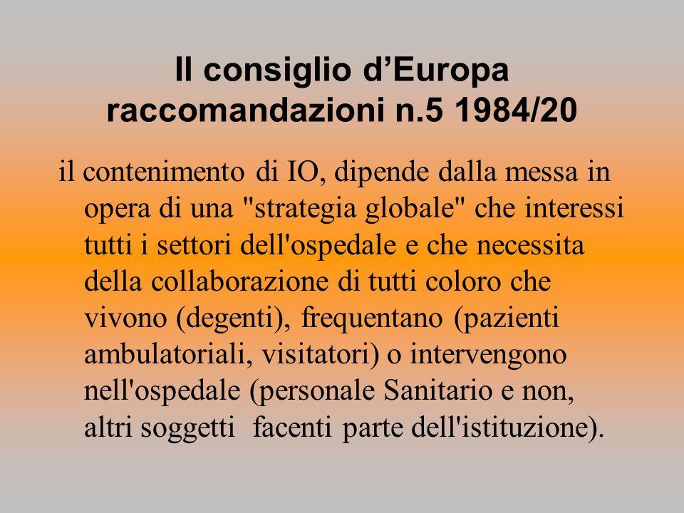 Il consiglio dEuropa raccomandazioni n.5 1984/20 il contenimento di IO, dipende dalla messa in opera di una