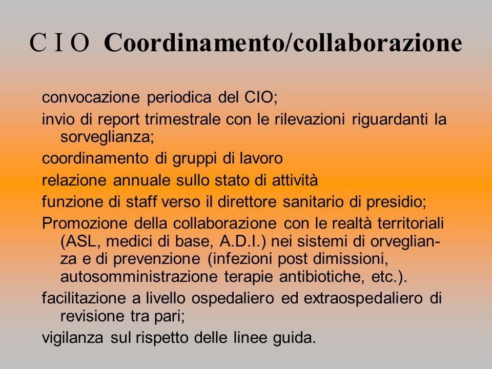 C I O Coordinamento/collaborazione convocazione periodica del CIO; invio di report trimestrale con le rilevazioni riguardanti la sorveglianza; coordin