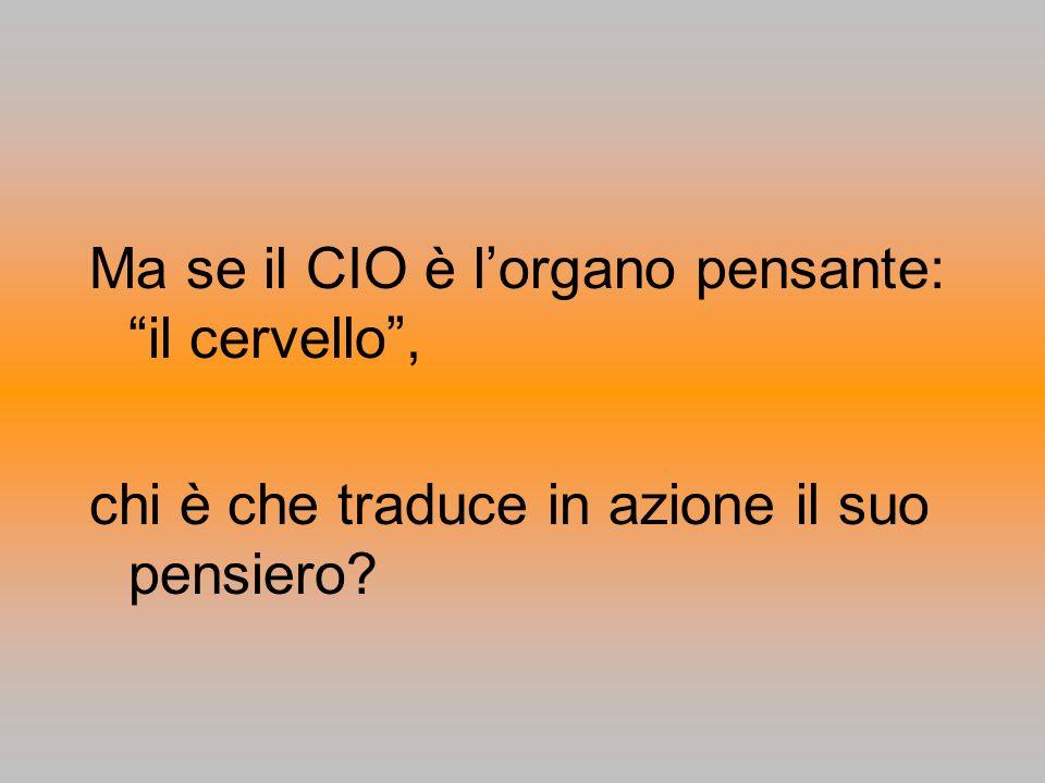 Ma se il CIO è lorgano pensante: il cervello, chi è che traduce in azione il suo pensiero?