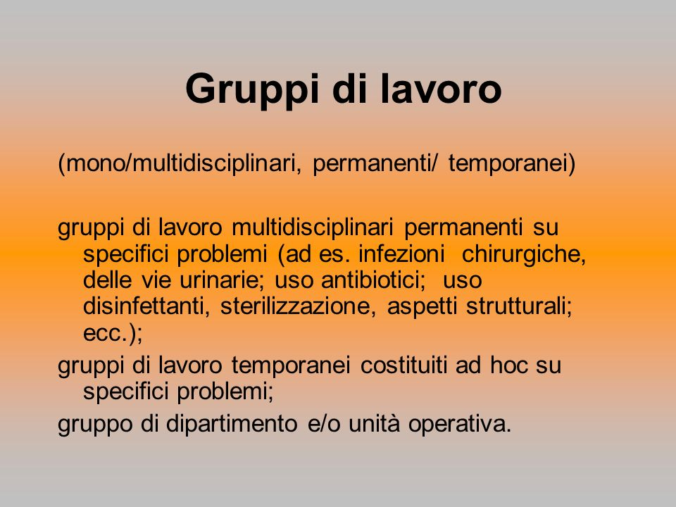 Gruppi di lavoro (mono/multidisciplinari, permanenti/ temporanei) gruppi di lavoro multidisciplinari permanenti su specifici problemi (ad es. infezion