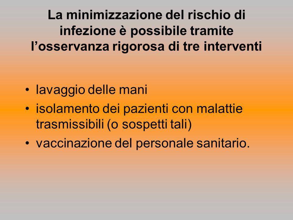 La minimizzazione del rischio di infezione è possibile tramite losservanza rigorosa di tre interventi lavaggio delle mani isolamento dei pazienti con