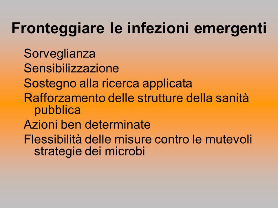 Fronteggiare le infezioni emergenti Sorveglianza Sensibilizzazione Sostegno alla ricerca applicata Rafforzamento delle strutture della sanità pubblica