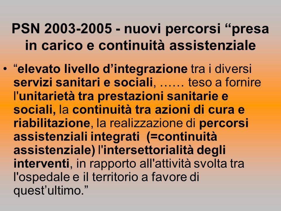 PSN 2003-2005 - nuovi percorsi presa in carico e continuità assistenziale elevato livello dintegrazione tra i diversi servizi sanitari e sociali, …… t