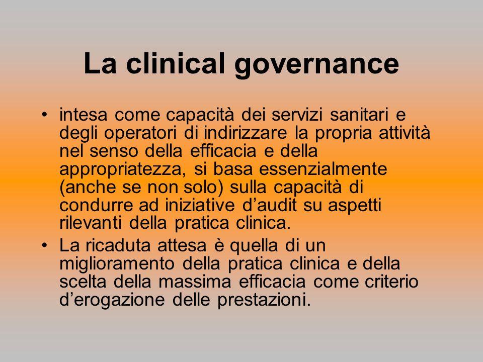 La clinical governance intesa come capacità dei servizi sanitari e degli operatori di indirizzare la propria attività nel senso della efficacia e dell