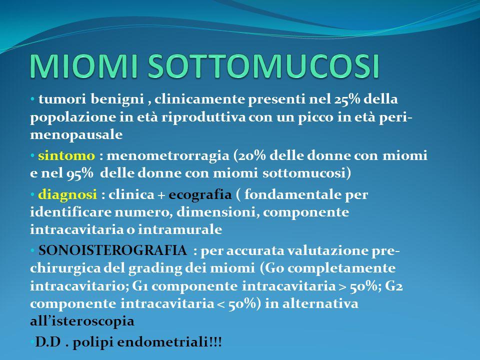 tumori benigni, clinicamente presenti nel 25% della popolazione in età riproduttiva con un picco in età peri- menopausale sintomo : menometrorragia (2