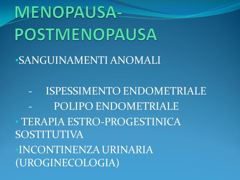 SANGUINAMENTI ANOMALI - ISPESSIMENTO ENDOMETRIALE - POLIPO ENDOMETRIALE TERAPIA ESTRO-PROGESTINICA SOSTITUTIVA INCONTINENZA URINARIA (UROGINECOLOGIA)