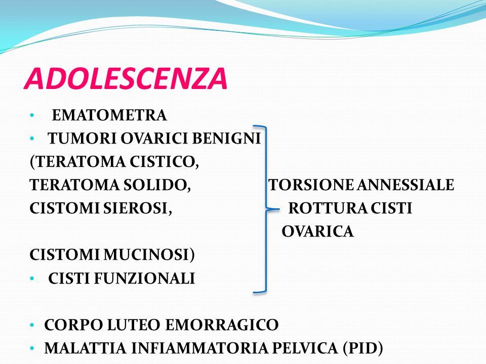 EMATOCOLPO-EMATOMETRA raccolta patologica di sangue mestruale in vagina e/o nella cavità uterina.