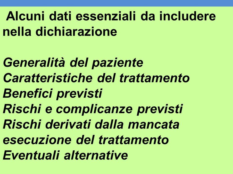 Alcuni dati essenziali da includere nella dichiarazione Generalità del paziente Caratteristiche del trattamento Benefici previsti Rischi e complicanze