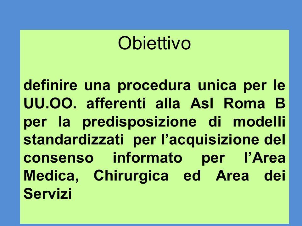 Obiettivo definire una procedura unica per le UU.OO. afferenti alla Asl Roma B per la predisposizione di modelli standardizzati per lacquisizione del