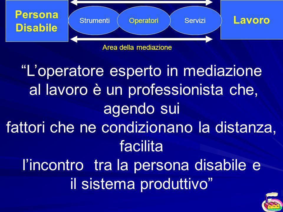 Persona Disabile Lavoro StrumentiServiziOperatori Area della mediazione Loperatore esperto in mediazione al lavoro è un professionista che, agendo sui fattori che ne condizionano la distanza, facilita lincontro tra la persona disabile e il sistema produttivo