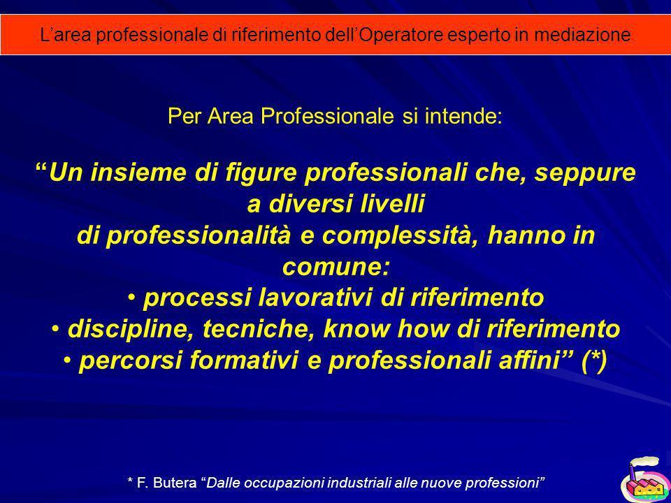 Larea professionale di riferimento dellOperatore esperto in mediazione Per Area Professionale si intende: Un insieme di figure professionali che, sepp