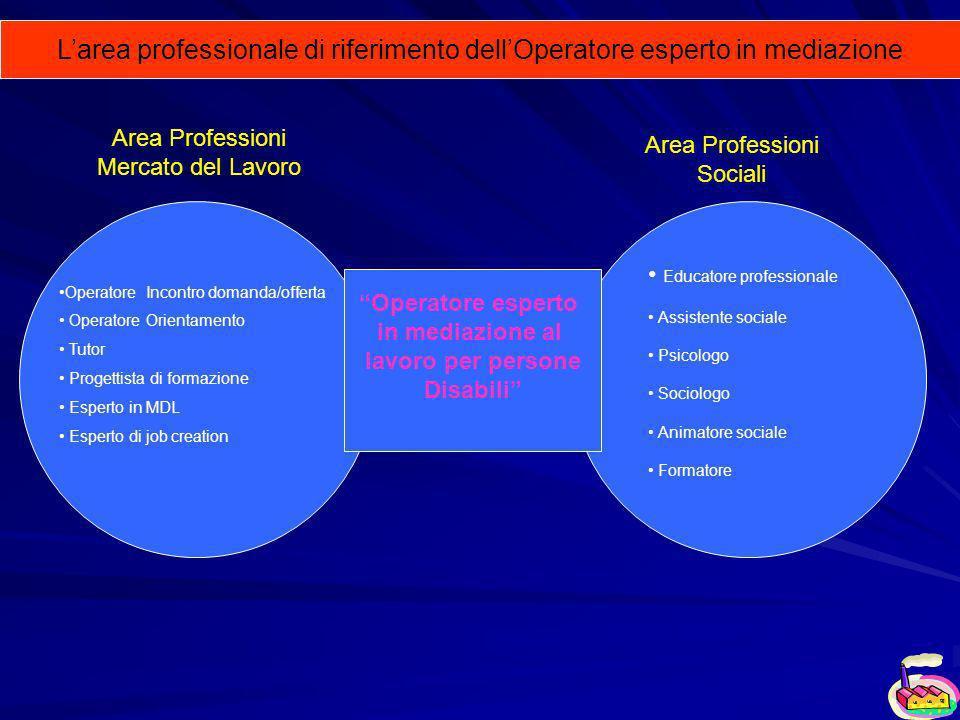 Operatore esperto in mediazione al lavoro per persone Disabili Area Professioni Mercato del Lavoro Area Professioni Sociali Operatore Incontro domanda