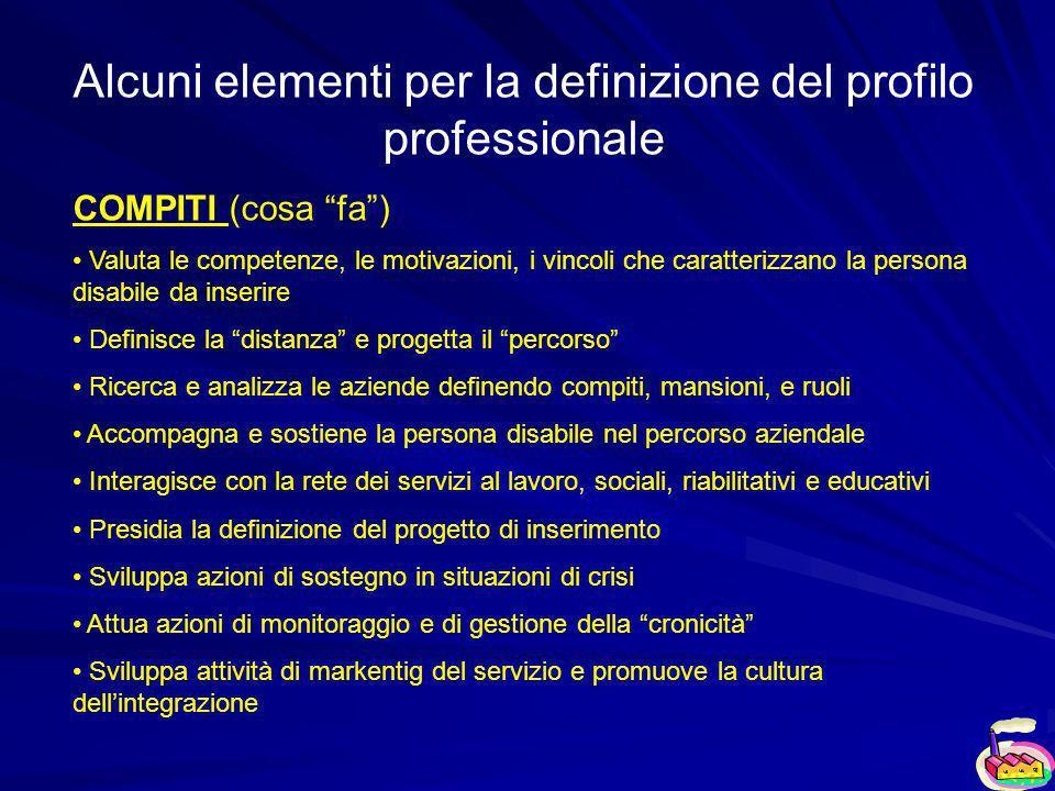 Alcuni elementi per la definizione del profilo professionale COMPITI (cosa fa) Valuta le competenze, le motivazioni, i vincoli che caratterizzano la p