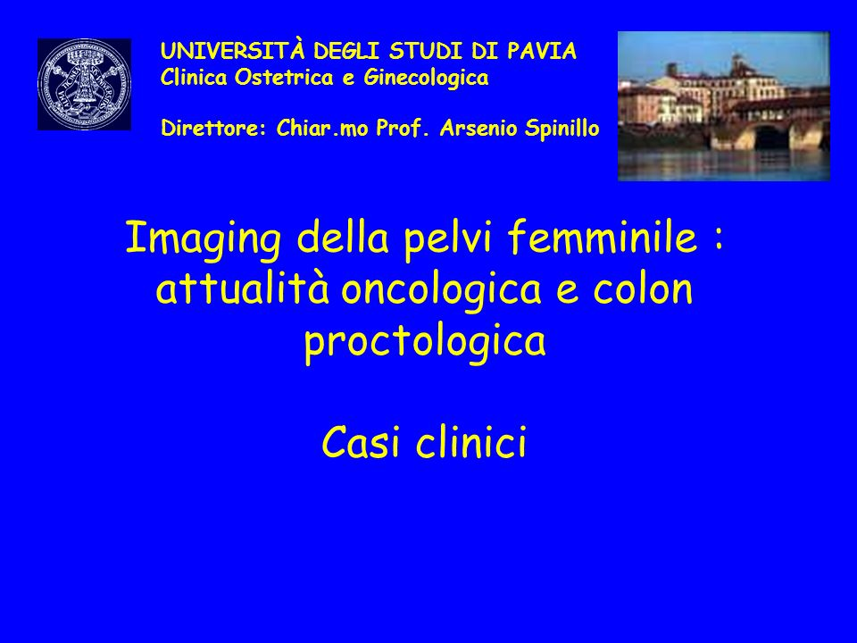 Imaging della pelvi femminile : attualità oncologica e colon proctologica Casi clinici UNIVERSITÀ DEGLI STUDI DI PAVIA Clinica Ostetrica e Ginecologic