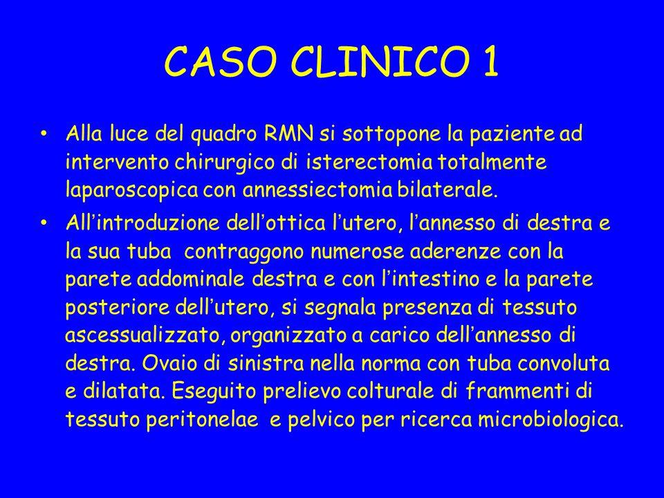 CASO CLINICO 1 Alla luce del quadro RMN si sottopone la paziente ad intervento chirurgico di isterectomia totalmente laparoscopica con annessiectomia