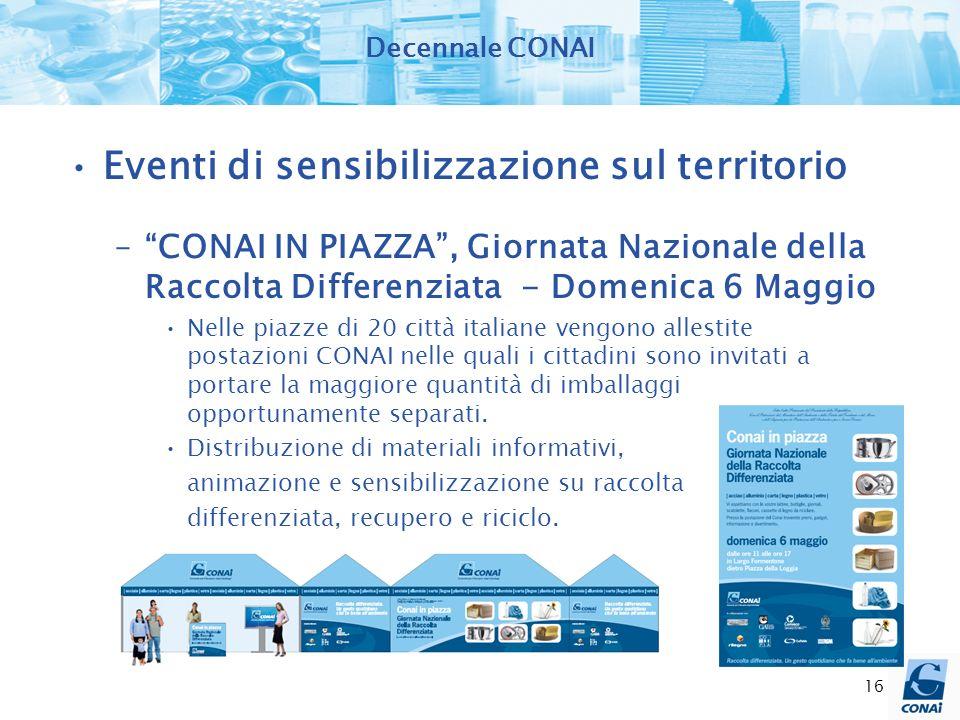 16 Decennale CONAI Eventi di sensibilizzazione sul territorio –CONAI IN PIAZZA, Giornata Nazionale della Raccolta Differenziata - Domenica 6 Maggio Ne