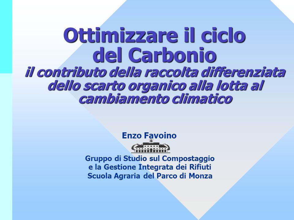 Ottimizzare il ciclo del Carbonio il contributo della raccolta differenziata dello scarto organico alla lotta al cambiamento climatico Enzo Favoino Gr