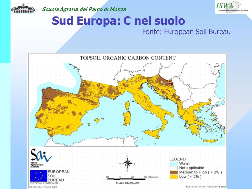 Scuola Agraria del Parco di Monza Sud Europa: C nel suolo Fonte: European Soil Bureau