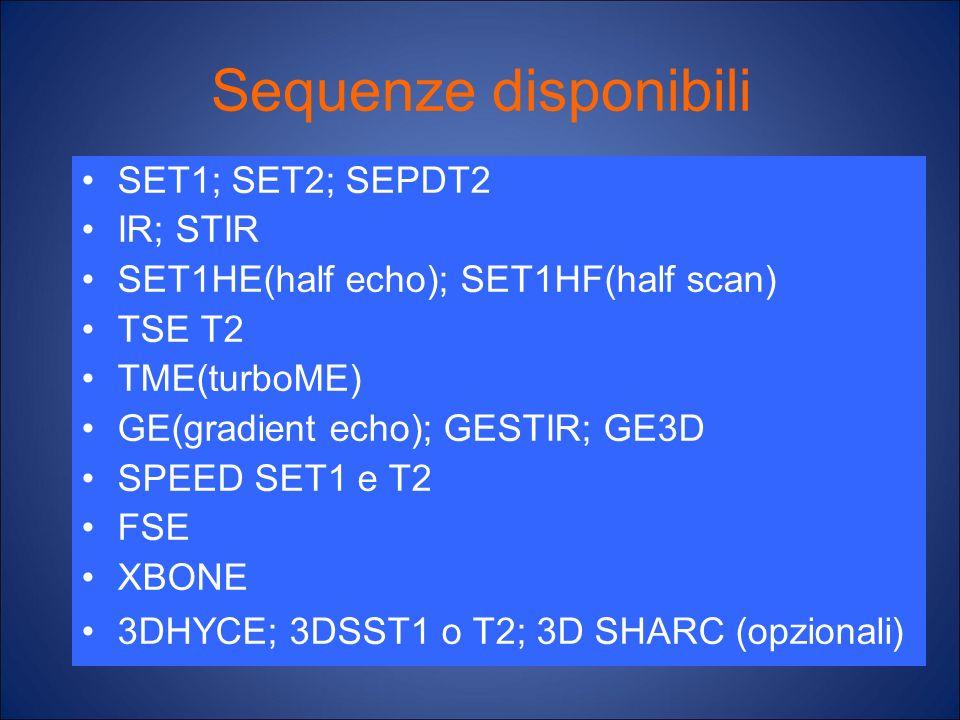 Sequenze disponibili SET1; SET2; SEPDT2 IR; STIR SET1HE(half echo); SET1HF(half scan) TSE T2 TME(turboME) GE(gradient echo); GESTIR; GE3D SPEED SET1 e
