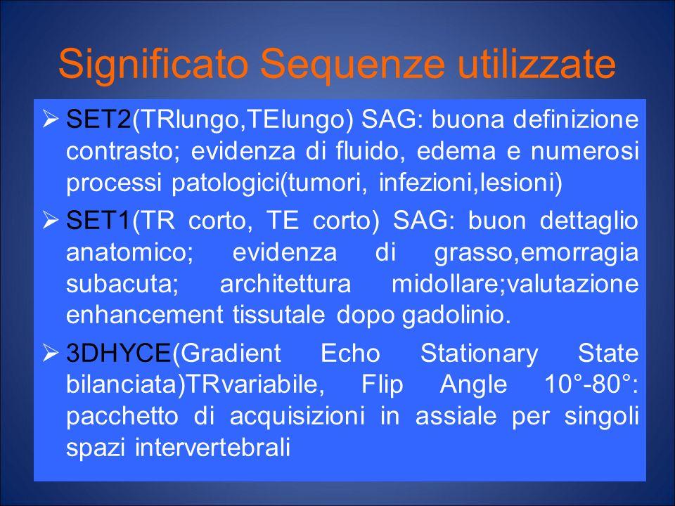Significato Sequenze utilizzate SET2(TRlungo,TElungo) SAG: buona definizione contrasto; evidenza di fluido, edema e numerosi processi patologici(tumor
