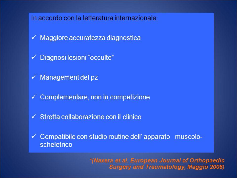 In accordo con la letteratura internazionale: Maggiore accuratezza diagnostica Diagnosi lesioni occulte Management del pz Complementare, non in compet