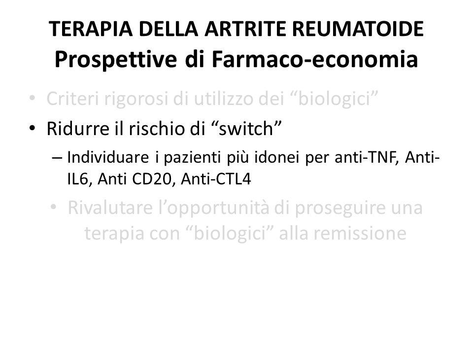 TERAPIA DELLA ARTRITE REUMATOIDE Prospettive di Farmaco-economia Criteri rigorosi di utilizzo dei biologici Ridurre il rischio di switch – Individuare