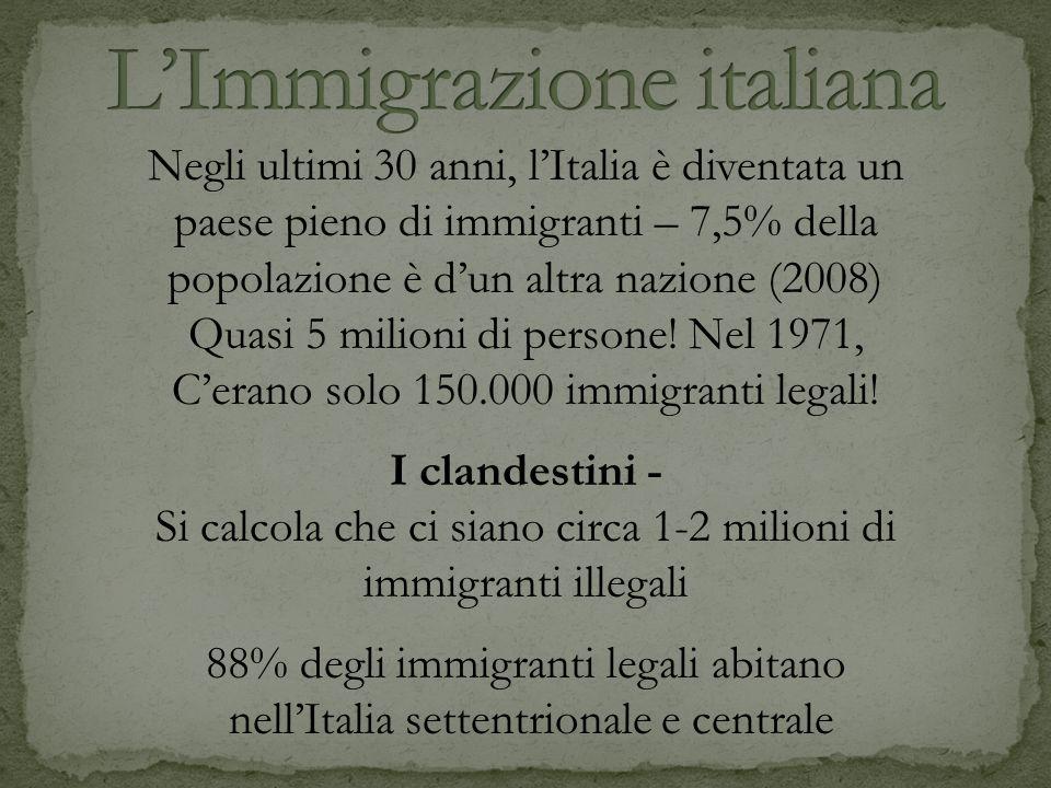 Negli ultimi 30 anni, lItalia è diventata un paese pieno di immigranti – 7,5% della popolazione è dun altra nazione (2008) Quasi 5 milioni di persone!