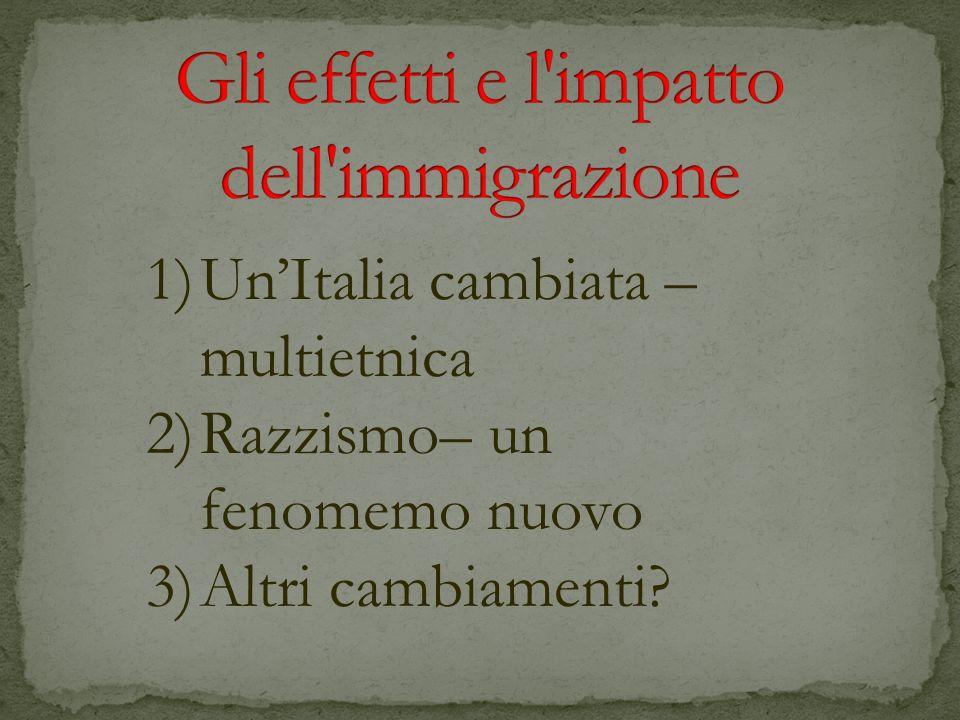 1)UnItalia cambiata – multietnica 2)Razzismo– un fenomemo nuovo 3)Altri cambiamenti?