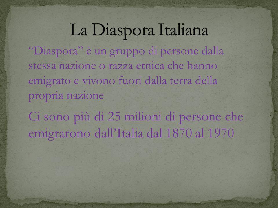 Ci sono più di 25 milioni di persone che emigrarono dallItalia dal 1870 al 1970 Diaspora è un gruppo di persone dalla stessa nazione o razza etnica ch