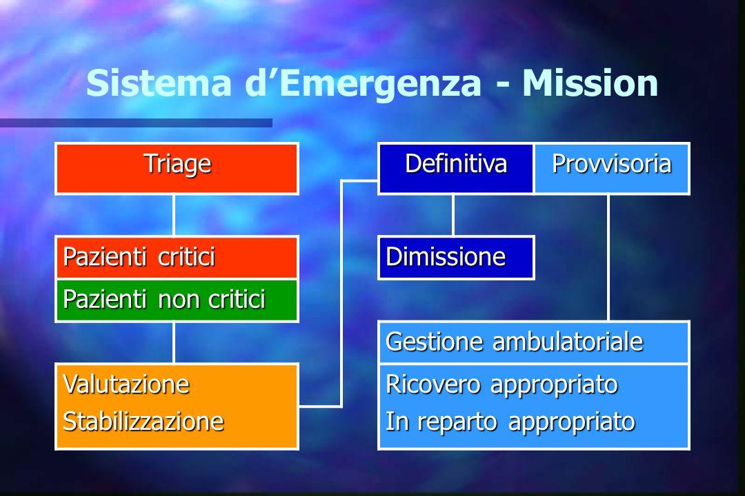 Sistema d Emergenza - Mission TriageDefinitivaProvvisoria Pazienti critici Dimissione Pazienti non critici Gestione ambulatoriale ValutazioneStabilizz