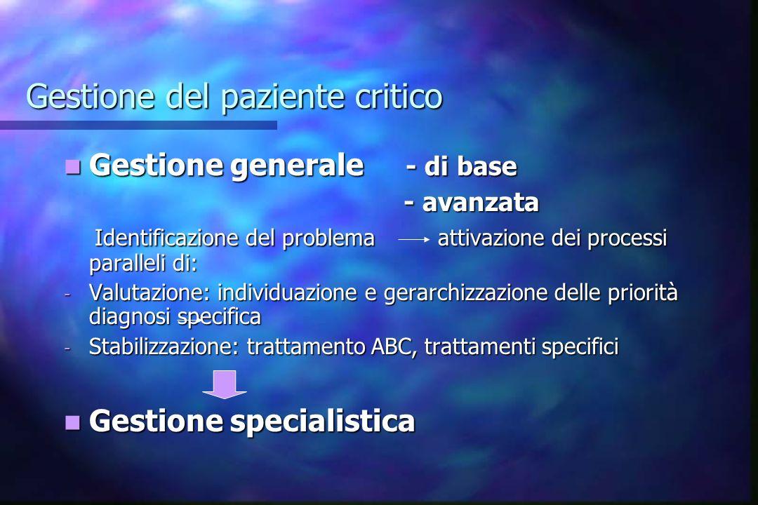 Gestione del paziente critico Gestione generale - di base Gestione generale - di base - avanzata - avanzata Identificazione del problema attivazione d