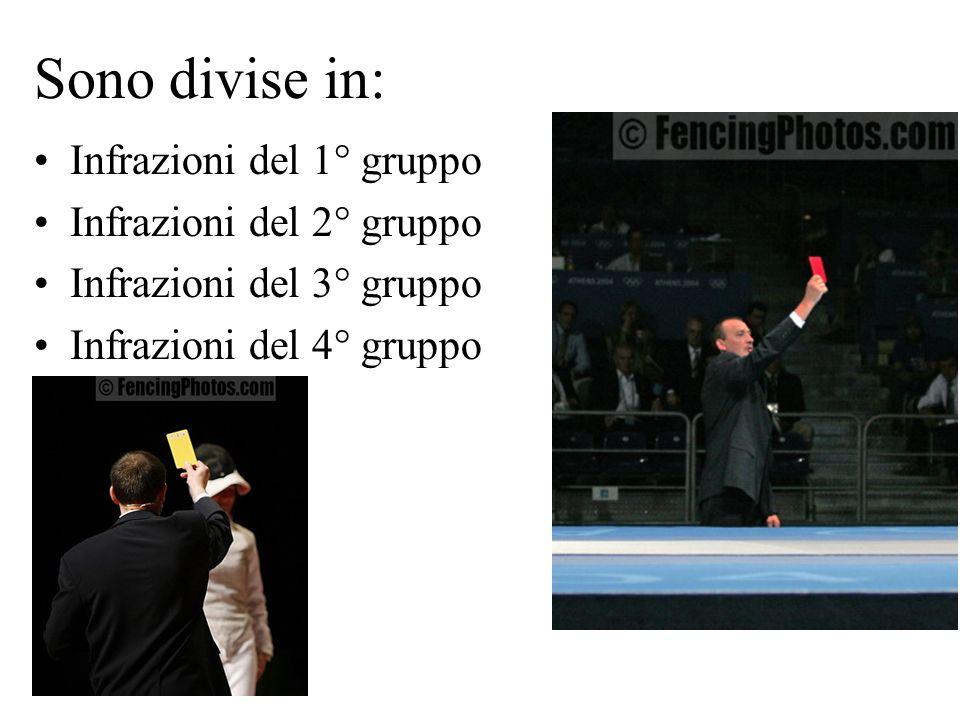 Sono divise in: Infrazioni del 1° gruppo Infrazioni del 2° gruppo Infrazioni del 3° gruppo Infrazioni del 4° gruppo