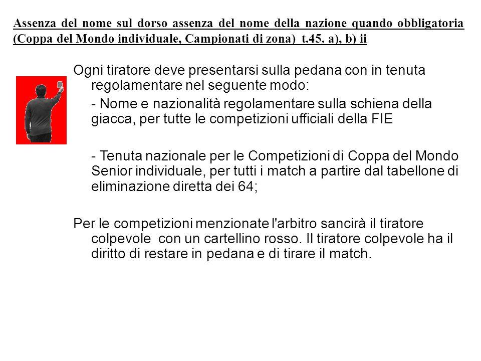 Assenza del nome sul dorso assenza del nome della nazione quando obbligatoria (Coppa del Mondo individuale, Campionati di zona)t.45.