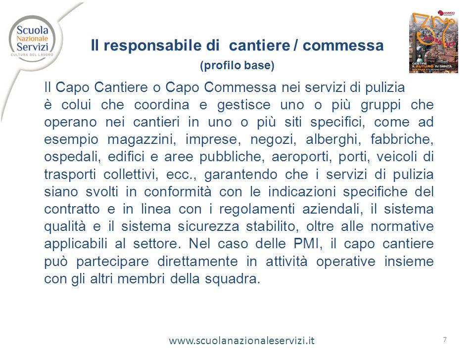 www.scuolanazionaleservizi.it 7 Il responsabile di cantiere / commessa (profilo base) Il Capo Cantiere o Capo Commessa nei servizi di pulizia è colui