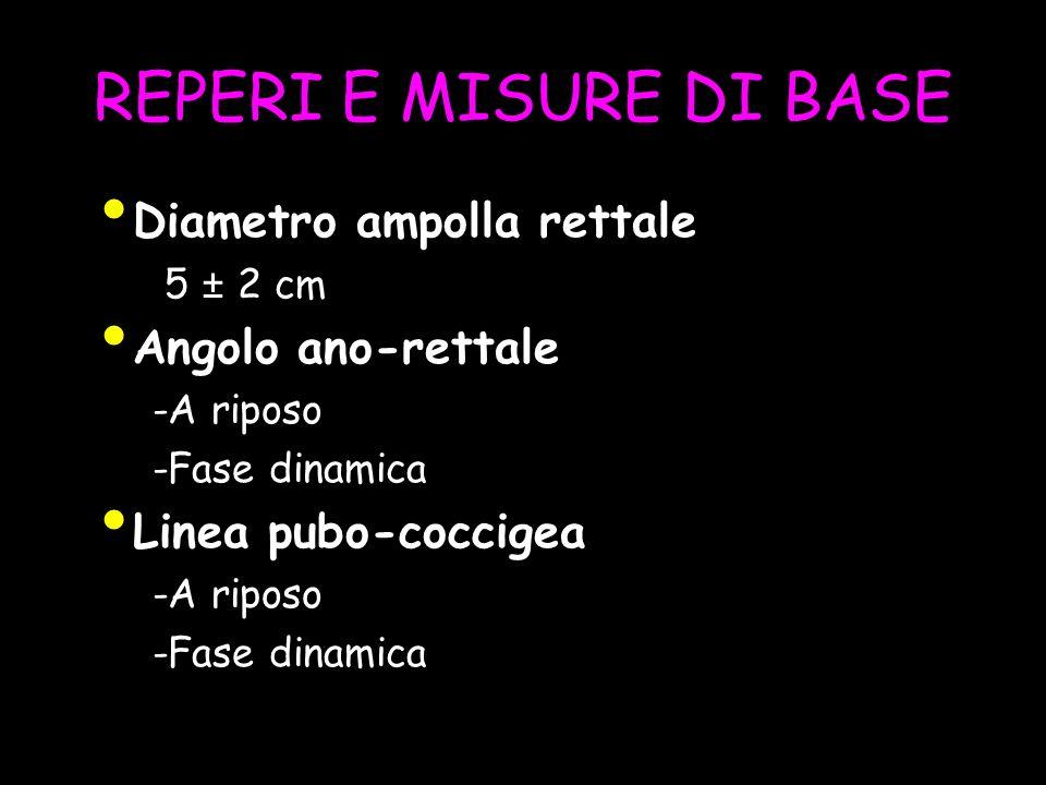 REPERI E MISURE DI BASE Diametro ampolla rettale 5 ± 2 cm Angolo ano-rettale -A riposo -Fase dinamica Linea pubo-coccigea -A riposo -Fase dinamica