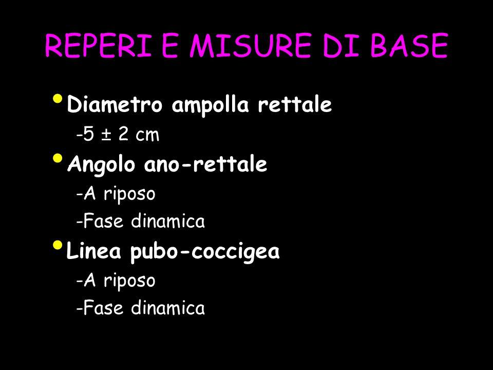 REPERI E MISURE DI BASE Diametro ampolla rettale -5 ± 2 cm Angolo ano-rettale -A riposo -Fase dinamica Linea pubo-coccigea -A riposo -Fase dinamica