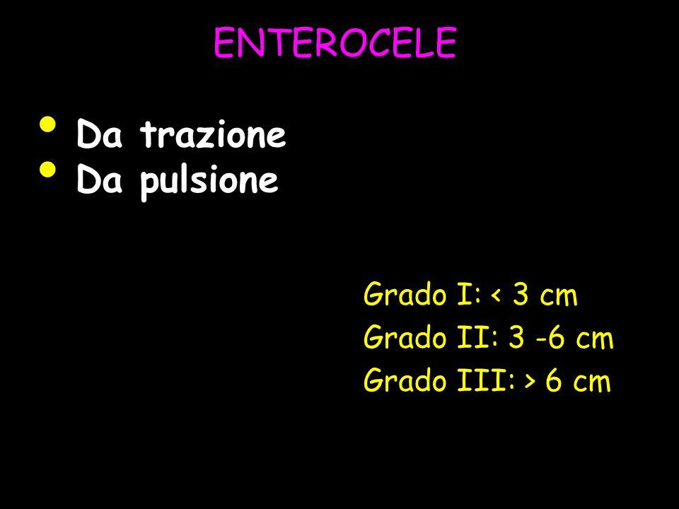 ENTEROCELE Grado I: < 3 cm Grado II: 3 -6 cm Grado III: > 6 cm Da trazione Da pulsione