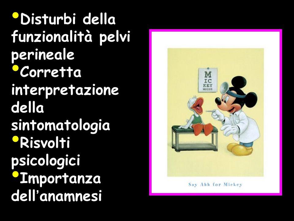 Disturbi della funzionalità pelvi perineale Corretta interpretazione della sintomatologia Risvolti psicologici Importanza dellanamnesi