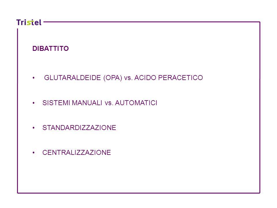 DIBATTITO GLUTARALDEIDE (OPA) vs. ACIDO PERACETICO SISTEMI MANUALI vs. AUTOMATICI STANDARDIZZAZIONE CENTRALIZZAZIONE