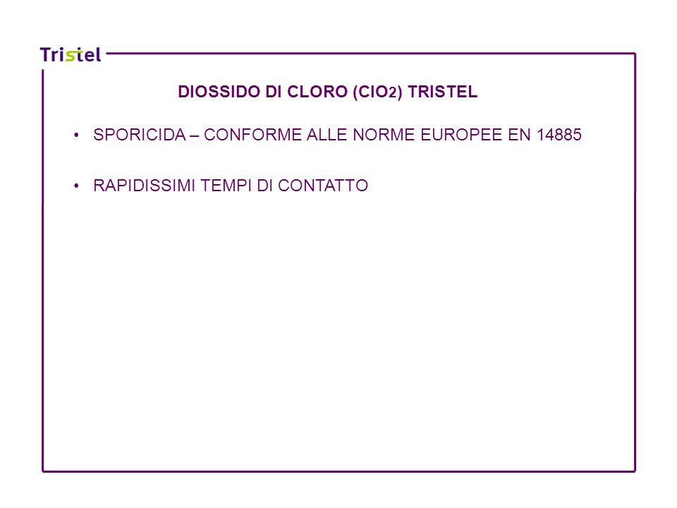 DIOSSIDO DI CLORO (ClO 2 ) TRISTEL SPORICIDA – CONFORME ALLE NORME EUROPEE EN 14885 RAPIDISSIMI TEMPI DI CONTATTO