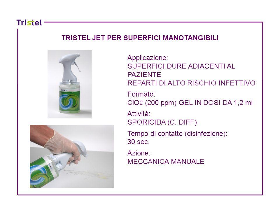TRISTEL JET PER SUPERFICI MANOTANGIBILI Applicazione: SUPERFICI DURE ADIACENTI AL PAZIENTE REPARTI DI ALTO RISCHIO INFETTIVO Formato: ClO 2 (200 ppm)