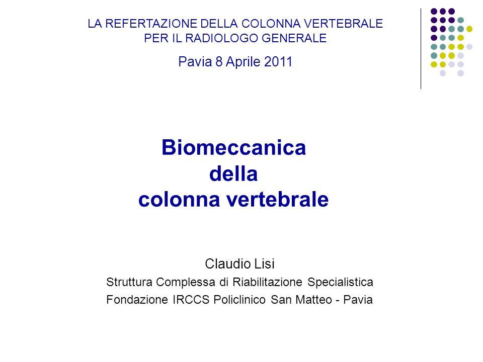 Biomeccanica della colonna vertebrale Claudio Lisi Struttura Complessa di Riabilitazione Specialistica Fondazione IRCCS Policlinico San Matteo - Pavia