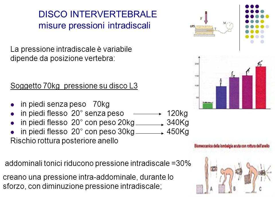 DISCO INTERVERTEBRALE misure pressioni intradiscali La pressione intradiscale è variabile dipende da posizione vertebra: Soggetto 70kg pressione su di