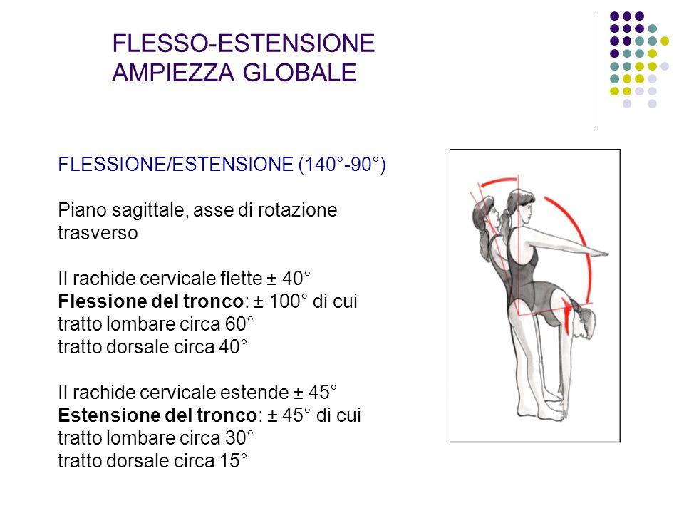 FLESSO-ESTENSIONE AMPIEZZA GLOBALE FLESSIONE/ESTENSIONE (140°-90°) Piano sagittale, asse di rotazione trasverso Il rachide cervicale flette ± 40° Fles