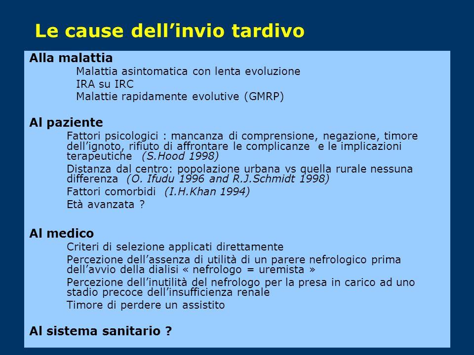 Le cause dellinvio tardivo Alla malattia Malattia asintomatica con lenta evoluzione IRA su IRC Malattie rapidamente evolutive (GMRP) Al paziente Fatto