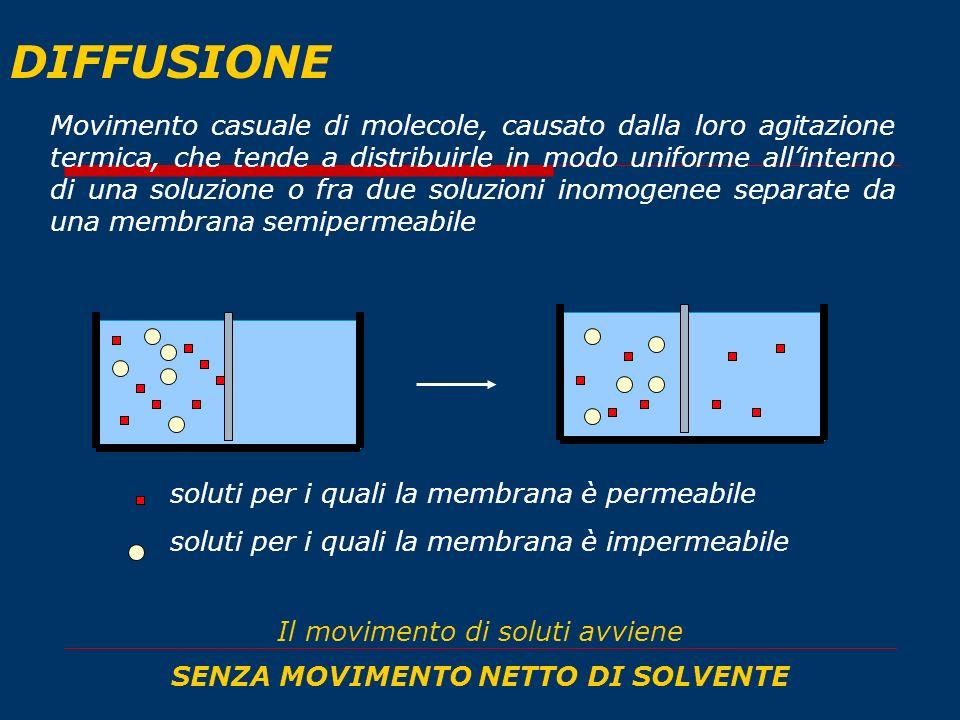 DIFFUSIONE Movimento casuale di molecole, causato dalla loro agitazione termica, che tende a distribuirle in modo uniforme allinterno di una soluzione