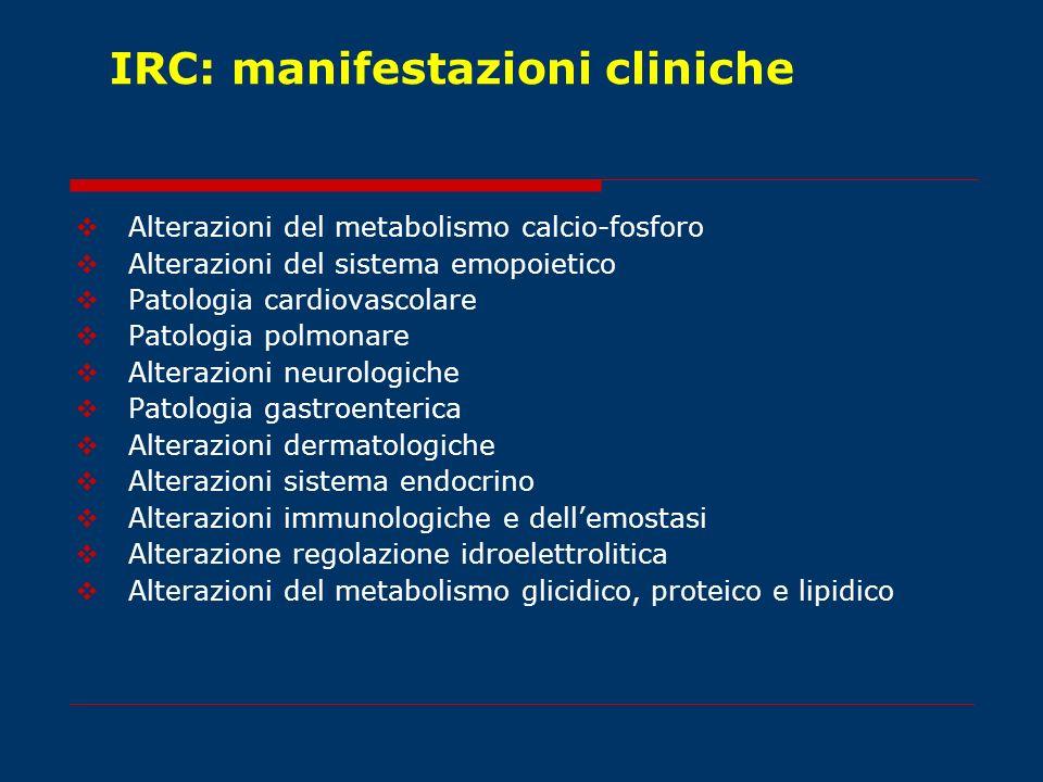 IRC: manifestazioni cliniche Alterazioni del metabolismo calcio-fosforo Alterazioni del sistema emopoietico Patologia cardiovascolare Patologia polmon